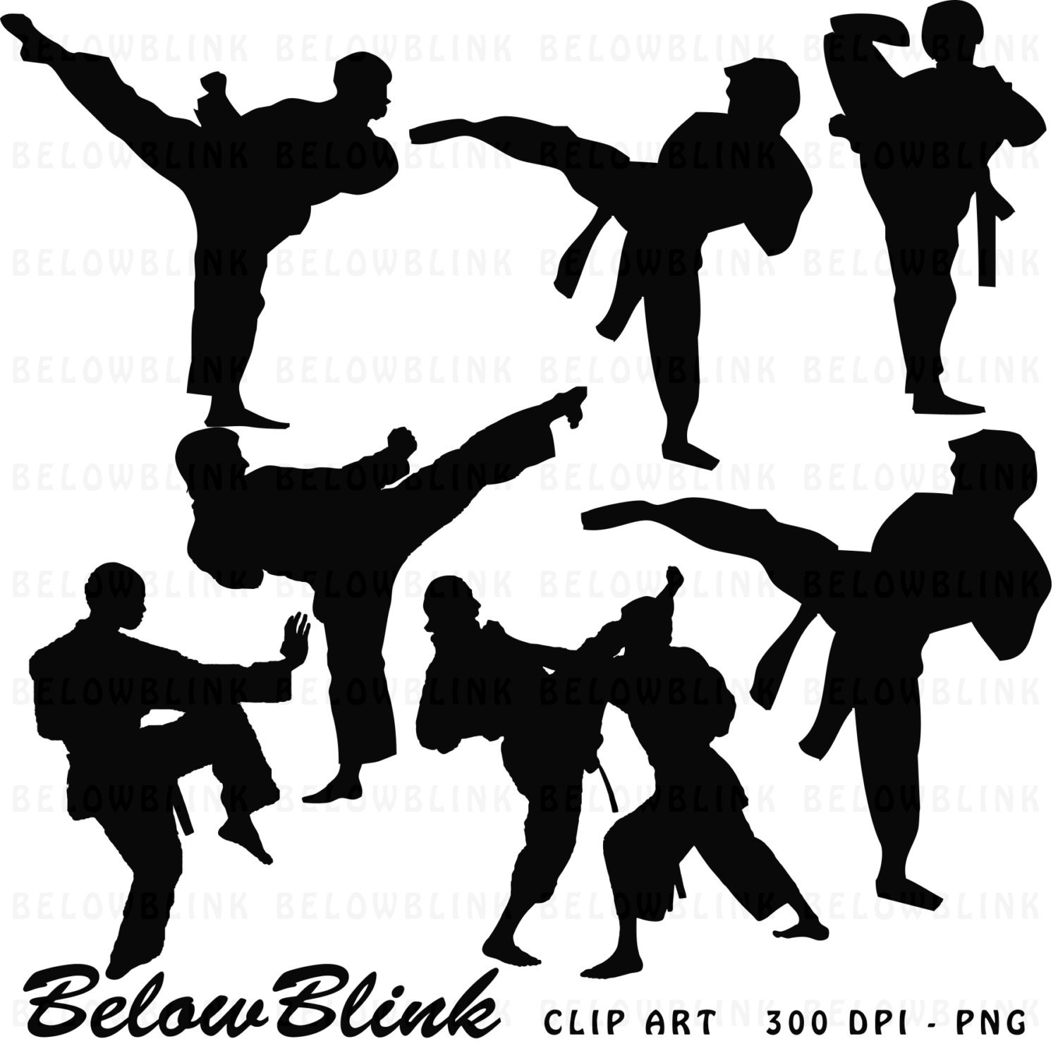 Karate Silhouettes Clipart Clip