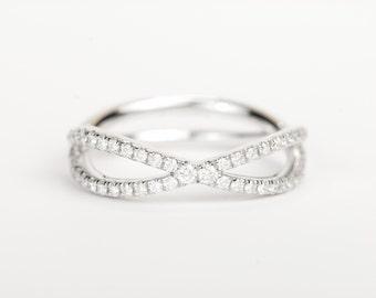 CERTIFIED - E-F , VVS-VS Infinity Diamond Wedding Band 14K White Rose or Yellow Gold