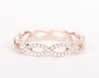 CERTIFIED - E-F, VVS - VS Diamond Weave Wedding Band 14K Rose Gold