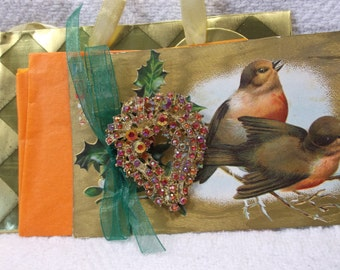 Christmas Card and Gift in one! 1960's Pin Brooch Adorning an Antique 1900's Postcard - Robins