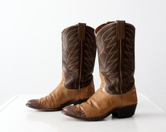 Nocona cowboy boots, 1960s brown leather boots, women's size 5