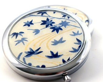 Navy and Cream Chiyogami. Compact Mirror