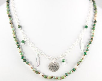 Layered Necklace with Jade Beads