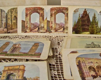 Antique Stereoview Cards 3D View Cards  Italy Egypt Sweden Greece Moscow Norway Japan Germany San Francisco Colorized View Cards circa 1900s