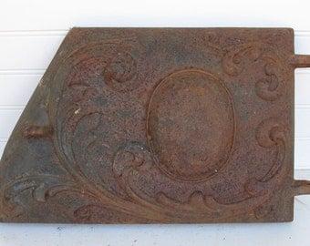 Vintage Cast Iron Wood Stove Door - Rustic Charm