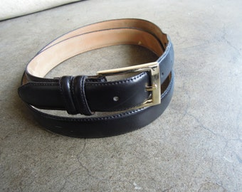 Vtg Black Leather Belt w/  Solid Brass Buckle Made in Guatamala Size 44 or 41 to 47