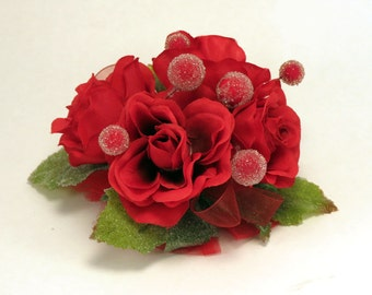 Corsage Christmas Red Roses