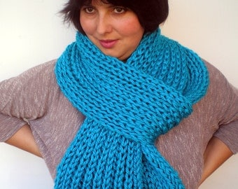Ocean blue Rib Chunky  Scarf Hand Knit Scarf  Soft  mixed Woman/Men Scarf NEW