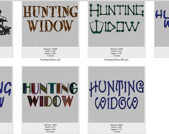 Machine Embroidery Hunting Widow 6 Letter Styles Sayings Letters Fonts Funny