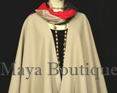 Taupe Cape Ruana Wrap Coat Wool Cashmere Blend by Maya Matazaro USA Made