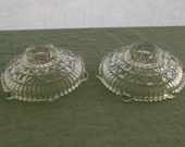 Vintage Candle Holder Pair Clear  Pressed Glass Taper Holders