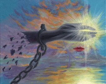 Breaking The Silence - Original Surreal Painting 8x10 chained wrist light shining through
