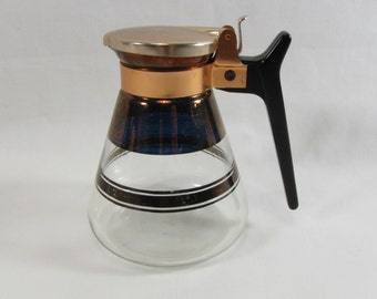 Vintage Mid Century Glass and Copper Coffee, Tea, or Syrup Carafe Decanter
