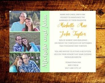wedding invitation with photo, photo collage wedding invite, 5x7 digital printable wedding announcement, custom modern wedding invitation