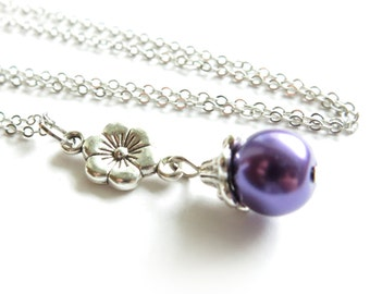 CLEARANCE - Flower and Purple Pearl Silver Necklace