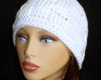 Crocheted Beanie, Textured Beanie, Basket Weave Beanie, White Crochet Hat - White