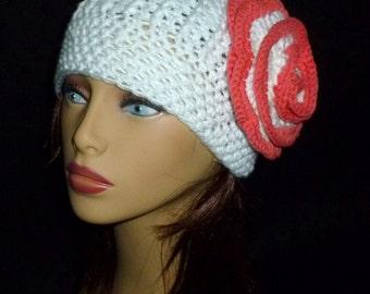 Womens Crochet Hat, Winter Hat, Crochet Beanie Hat, Women's Fashion, Fall Fashion - White with Peach Flower