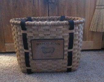Rug Hooking Tote Basket Handwoven, Knitting Basket, Storage Basket, Wool, Primitive Basket, Cross Stitch Basket, Crochet Basket, Handmade