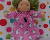 SALE - Flannel Pink Sheep Nightgown for 15-16 in Waldorf inspired dolls