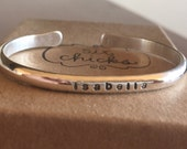 Baby, toddler or child's sterling silver personalized handstamped cuff bracelet