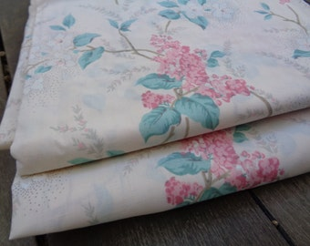 New Vintage Non Iron Full Flat Sheet Cotton Blend Cream Floral Sheet Bedding Shabby Chic Vintage Linens RA
