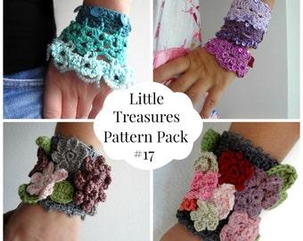 Crochet PDF Pattern Discount Pack #17 - 4 PDF Patterns,crochet bracelet necklace, crochet flower, crochet roses, bohemian pattern, boho chic