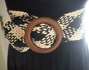 Vintage Black And Off White Woven Belt
