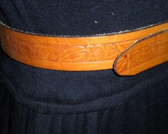 VintageTooled Brown Leather Hippie Belt