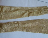 Vintage GOLD Metalic  Stretchy GLOVES, PARIS tag