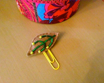 Leaf  Beaded Felt Paperclip Bookmark Office Gift