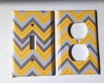 Light Switch Plate /Yellow And Gray Chevron Single Light Switch / Yellow and Gray Bathroom Decor /Yellow And Gray Home Decor / Grey Room