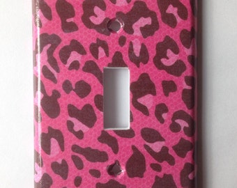 Leopard Light Switch Plate Cover/ Pink and black Leopard Single Light Switch Plate Cover/ Teen Room Decor/ Animal Print Decor/ Pink Leopard