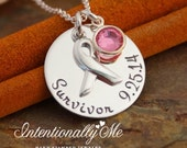 Cancer Awareness Necklace - Cancer Survivor - Personalized Sterling Silver