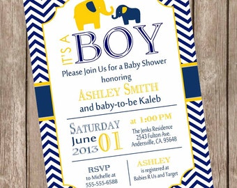 Boy elephant baby shower invitation, navy and yellow baby shower invitation, chevron baby shower invitation, printable invitation