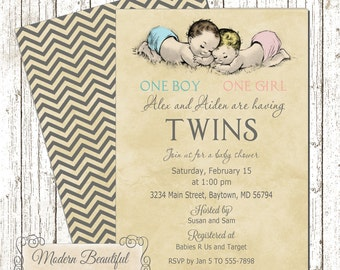 Twin Boy and Girl Vintage Baby Shower invitation, vintage twins babies invitation, one boy one girl baby shower invitation, twins invitation