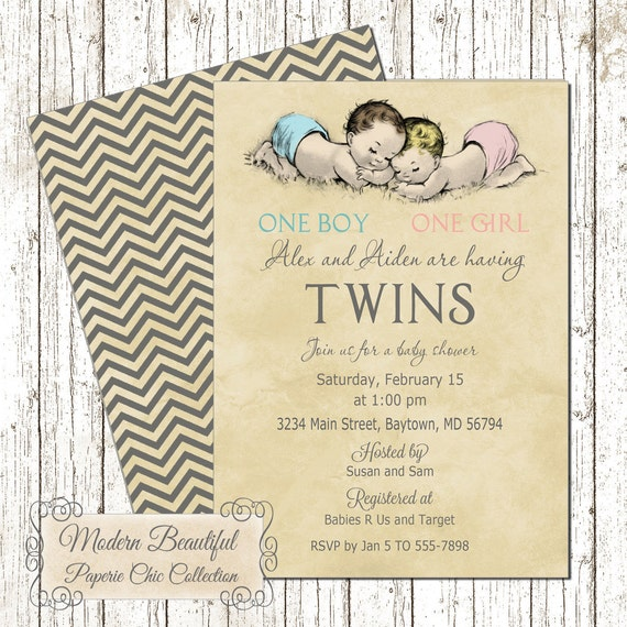 twin boy and girl vintage baby shower invitation, vintage twins, Baby shower