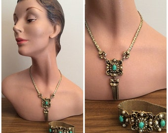1950s Gold Green Necklace Bracelet Set 50s