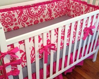 Hot Pink Crib Bedding. Flat Bumpers. Ruffle Crib Skirt.Cotton Crib Sheet. Hot Pink and Gray Bedding.Floral Nursery Decor. Girl Baby Bedding.