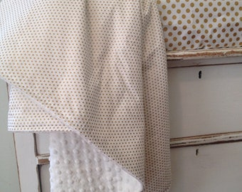 Metallic Gold Dot and White Minky Baby Blanket Made to Order