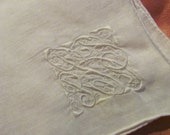 Large Solid White Cotton Hankie Monogrammed