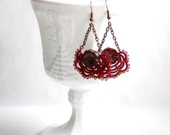 Garnet Flower Bead Tatting Lace Fan Shaped Dangle  Statement Earring