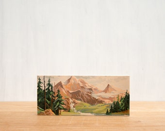 Paint by Number style Art Block 'Mountain Valley' -  vintage landscape