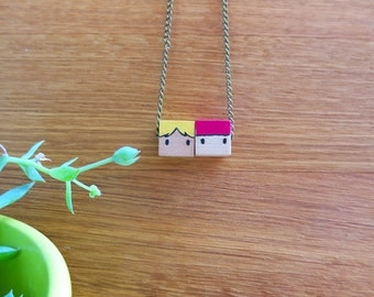 Necklace - Hand illustrated - Wood cube pendant