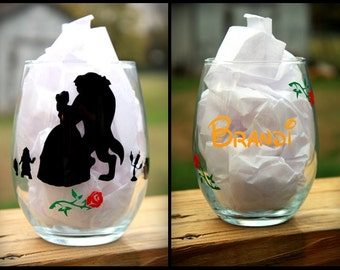 Beauty and The Beast Inspired - Wine Glass, Personalized Wine Glass, Disney Princess Belle