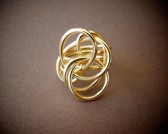 Statement Gold Ring / Unique Cocktail Ring / Chunky Gold Ring / Twisted Gold Ring / Unique Gold Ring