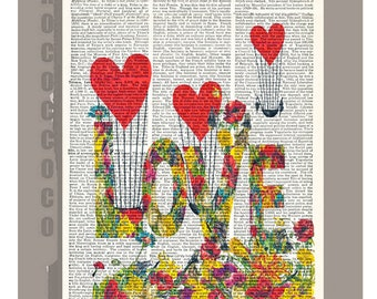 Happy Mother's Day, LOVE with Flowers -Wall decor, Unique Gift Her Love book print -  - Printed on dictionary page
