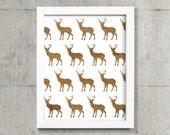 Deer art print in white and barnwood / Wood wooden print / Stag, antler, elk moose / Woodland wall decor / 8x10 printable art illustration