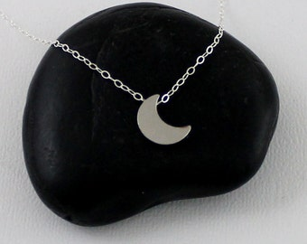 Silver Moon Necklace, Crescent Moon Necklace, Silver Crescent Moon, Lunar Phase Necklace