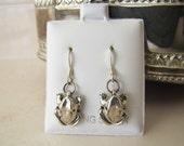 Sterling Silver 3D Frog Hook Earrings (Kawaii), wealth lucky charm