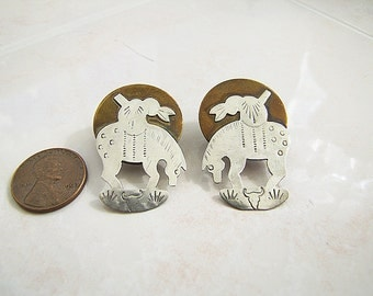 Vintage Indian riding on Horse Sterling Silver and copper Earrings, artist creation